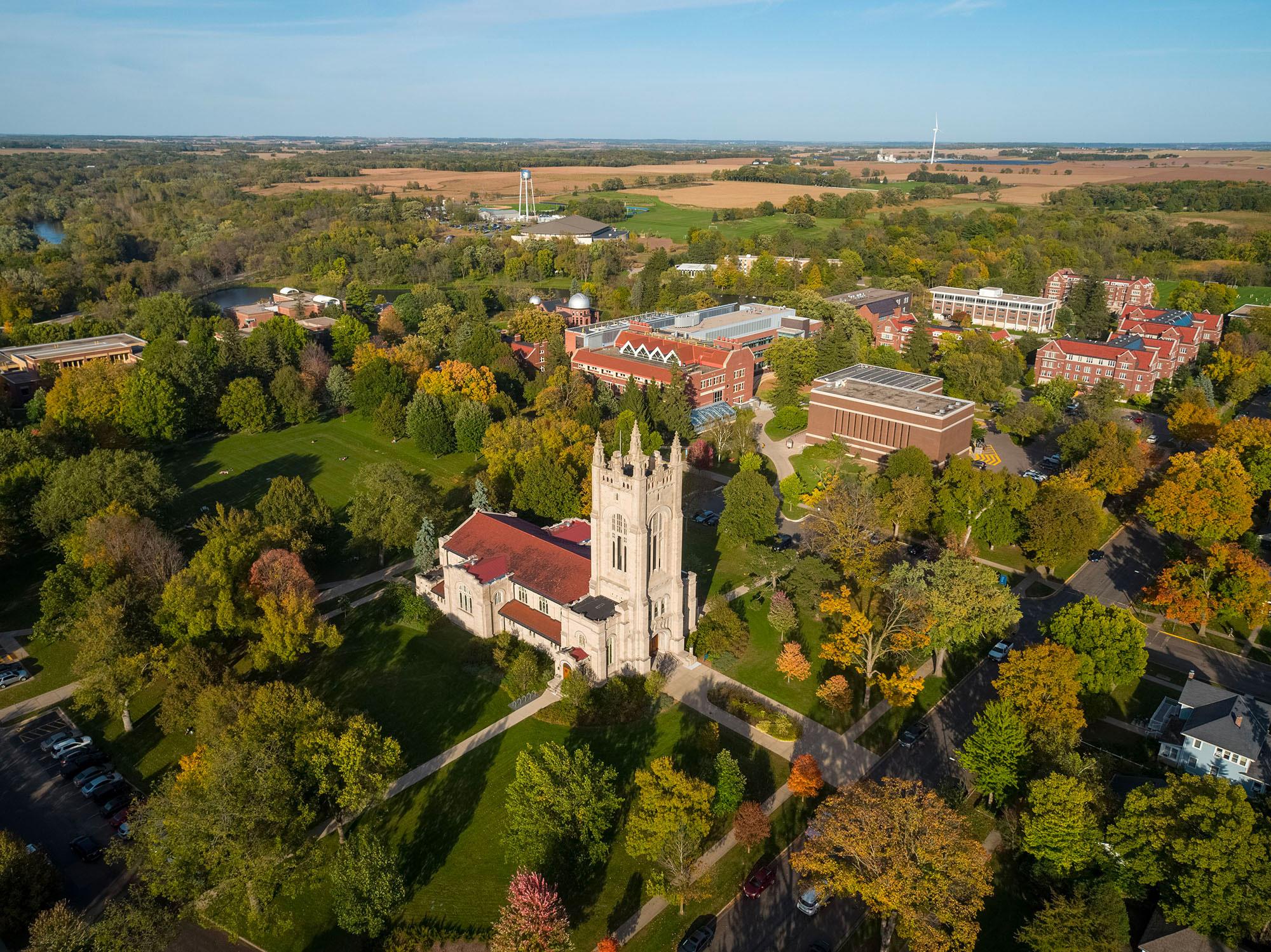 aerial view of Carleton campus focused on Chapel